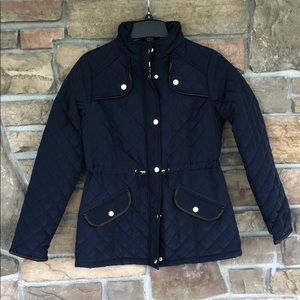 New! Jason Maxwell Quilted Navy Blue Jacket Sz S